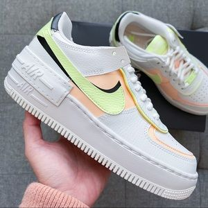 🤍💛 Nike Air Force 1 shadow white neon shoes